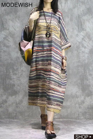 Linen Dolman Sleeve Folk Print Loose Shift Dress