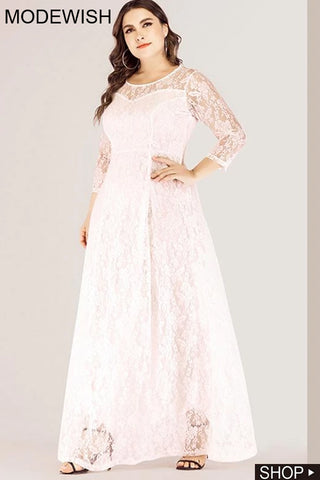 Oversize Big Hem Stitching Lace Party Maxi Dress