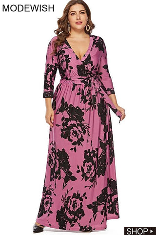 Oversize Floral Print Lace-Up Deep V-Neck Dress
