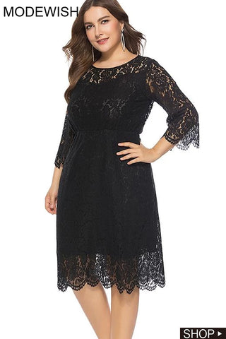 Oversize Hollow Out Lace High Waist Party Dress