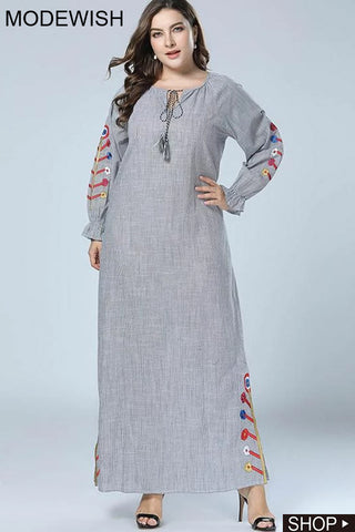 Oversize Lace-Up Embroidery Loose Maxi Dress