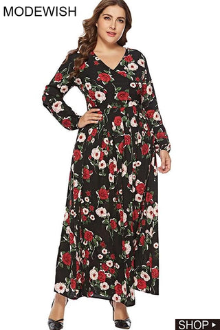 Oversize Long Sleeve V-Neck Print Big Hem Maxi Dress