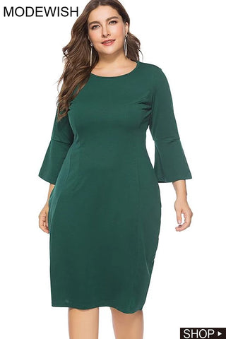 Oversize Slim Long Sleeve Solid Bodycon Dress