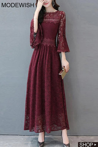 Party Lace Flare Sleeve Maxi Dress