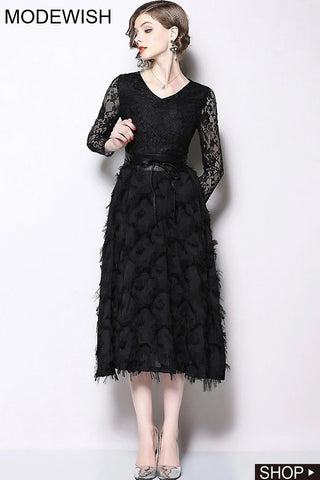 Party Lace Stitching High Waist Slim Lacing A-line Dress