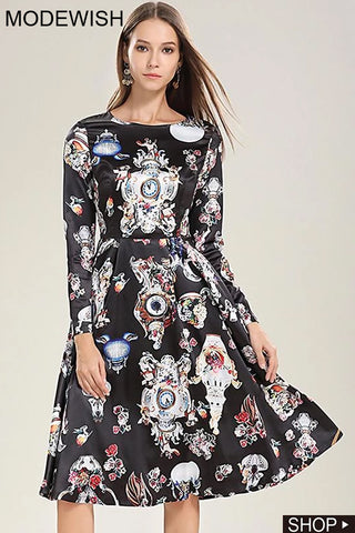 Party O-Neck Long Sleeve Collect Waist Pleated Floral Dress