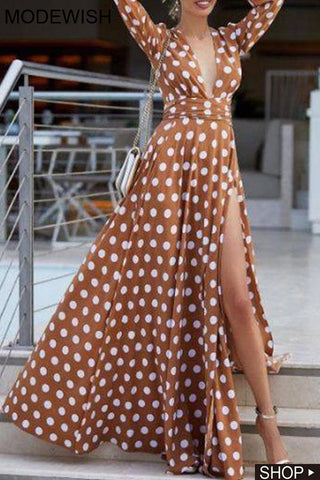 Sexy Holiday Bohemia Polka Dots Deep V-Neck Long Dress