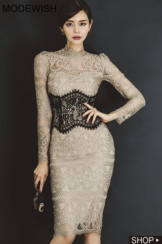 Sexy Hollow Out Lace Hit Color Gathered Waist Bodycon Dress