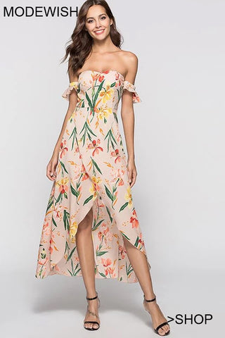 Sexy Off-The-Shoulder Slit Irregular Ruffled Skater Dress