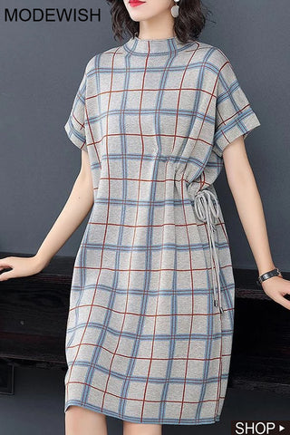 Stand Collar Short Sleeve Plaid Lacing Shift Dress