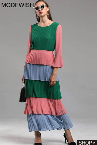 Stitching O-Neck Flare Sleeve Hit Color Maxi Dress