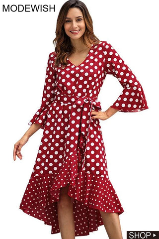 Street Polka Dot Patchwork Long Sleeve Sashes A-Line Dress