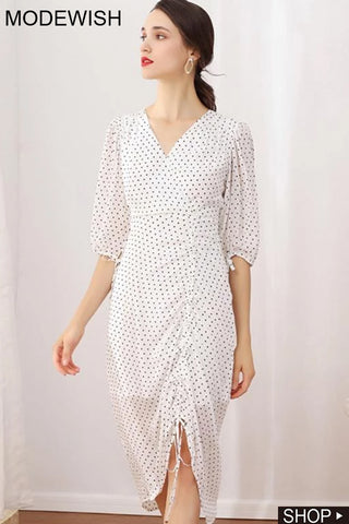 Stylish Polka Dot Drawstring Print A-Line Dress