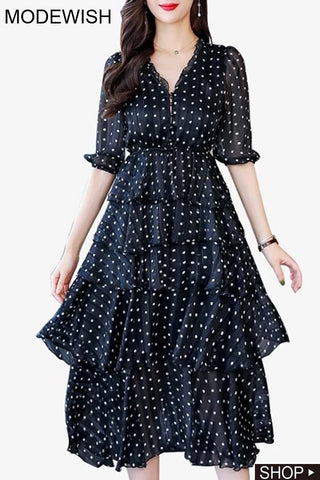 Sweet Polka Dot Stitching Tiered Skater Dress