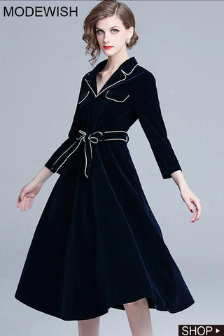 Turn-Down Collar 3/4 Sleeve Pure Color Lacing Fit & Flare Dress