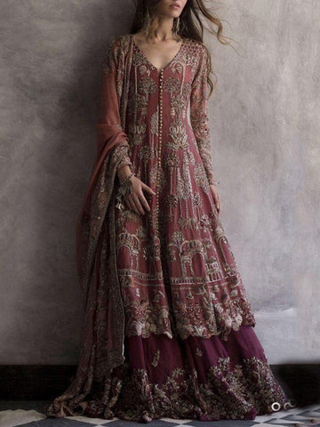 Long Sleeve Print Floor-Length Bohemian A-Line Dress
