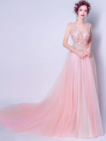Pearl Embroidery Solid Color Sashes Deep V Neck Sleeveless Wedding Dresses