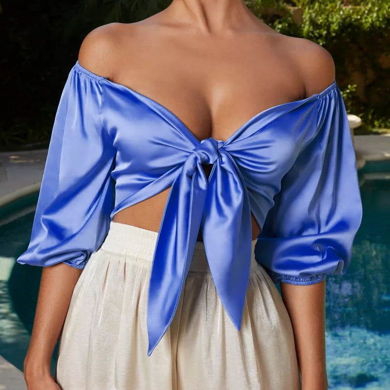 Sexy Satin Slik Crop Top Women Bow Sashes V Neck Strapless Backless Half Sleeve Cropped Top