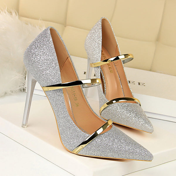 Elegant Sequined Pointed Toe Ladies High Heels Office Sexy Wedding Shoes