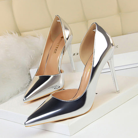 Wonen Pumps Fashion Patent Leather Classic Pumps Sexy High Heels Wedding Shoes