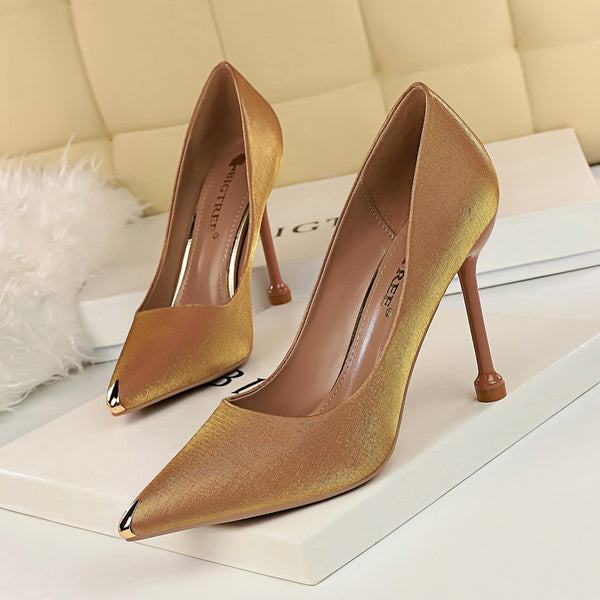 Metal Pointed Toe Elegent Women Pumps Stilettos High Heels Party Office Shoes