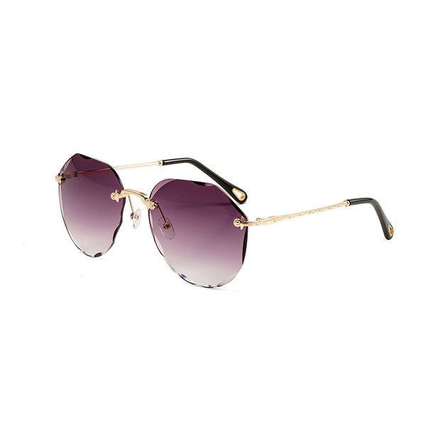 Metal Frameless Irregular Trimmed Elegant Outdoor Sunglasses Female
