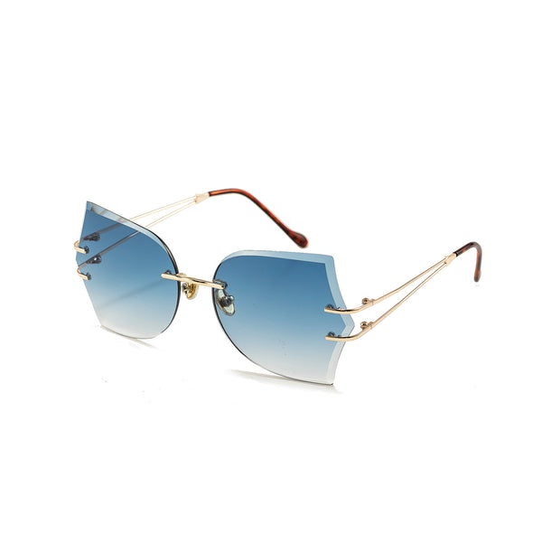 Fashion Glasses Trimmed Women's Frameless Metal Sunglasses