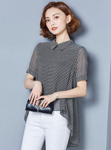 Black Chiffon Asymmetric Striped Blouse