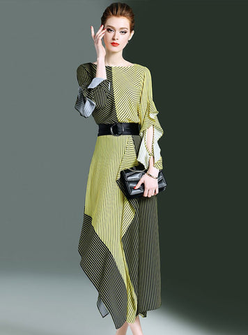 Green Striped Elegant Bateau/boat Neck Color-Block Top With Skirt