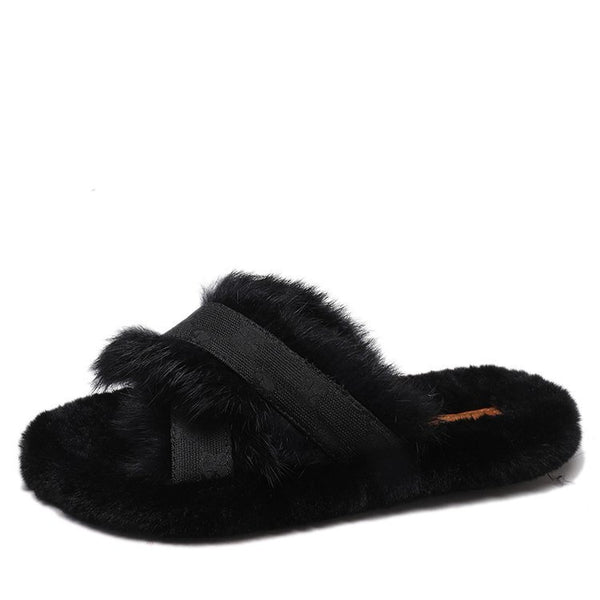 Women Flat Fluffy Fashion Home Summer Slippers