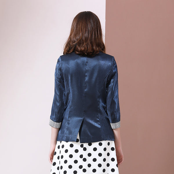 Women's Jacket Dark Blue Blazer Feminino High-end Shiny Blazers Satin Rhinestones Women Coats