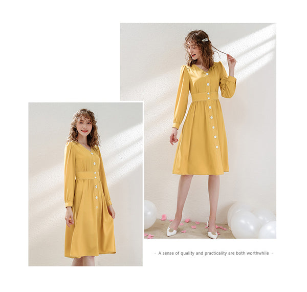V-collar Long Sleeve Pure Color Elegant A-line Dress