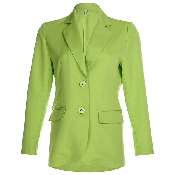 Fashion Female Long Sleeves Coats New Solid Color Buttons Loose Casual Suits Office Ladies' Work Suit Outwear