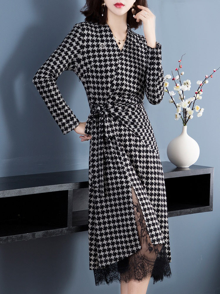 Sexy V-neck lace vintage long sleeve houndstooth print plus size dress