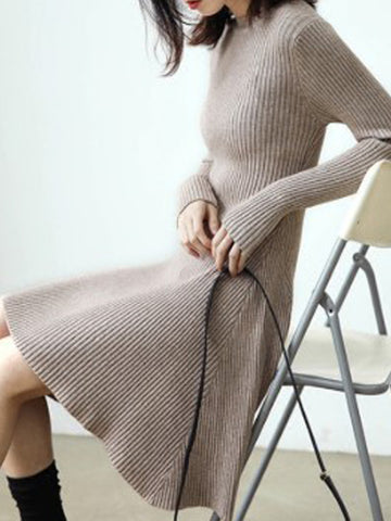 Slim Tight Warm Long Sleeve Knitted Sweater Dress