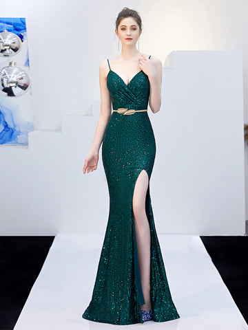 Elegant V-neck Sleeveless Sexy Party Long Prom Bridemaid Evening Dresses