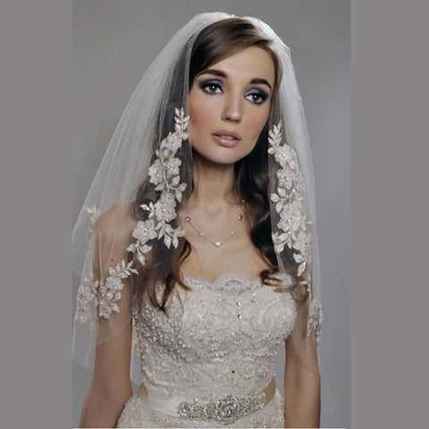 Wedding Veil with Pearls Beading  Bridal Veil