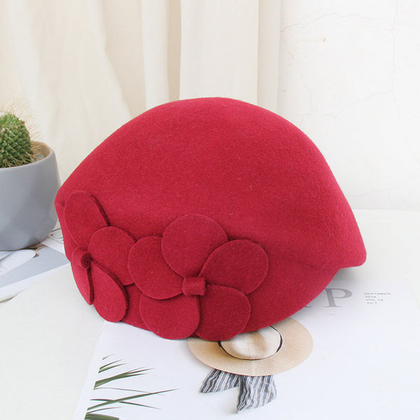 Fleece Felt Hat Dome Fashion Hat Flower Beret