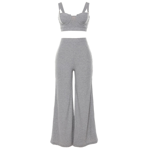 2 Piece Set Women High Waist Sexy Casual Tank Top And Wide Leg Pants