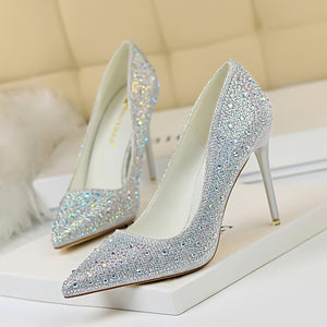 Women Pointed Toe High Heels Slip on Rhinestone Crystal Pumps Woman Wedding Shoes