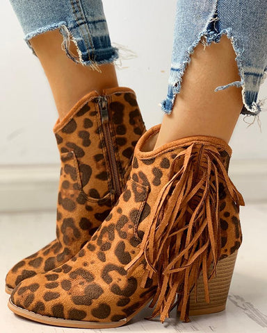 Solid Tassel Design Chunky Heeled Boots