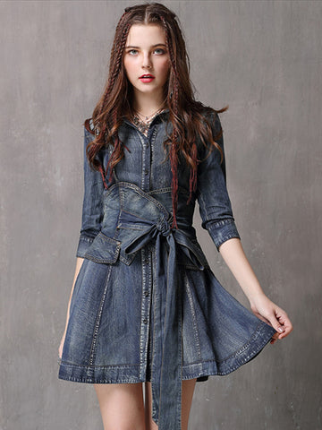Denim 3/4 Sleeve Turn-down Collar A-line Dress