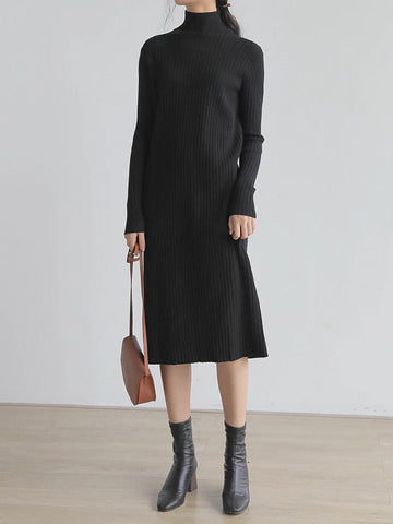 Ribbed Mock Neck Basic Knitted Sweater Dress