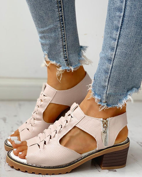 Peep Toe Cutout Zipper Chunky Heeled Sandals