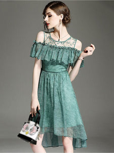 Stylish O-Neck Mesh Stitching Falbala Floral Print Dress