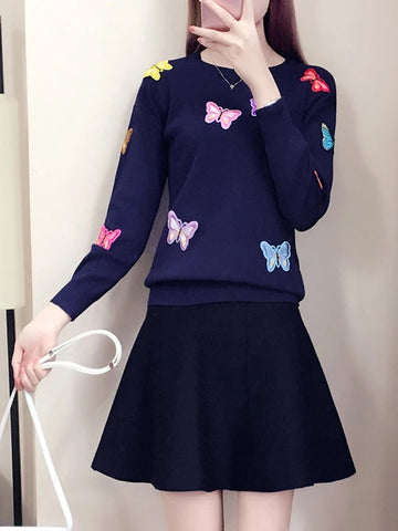 Fashion Two Piece Set Women Butterfly Embroidery sweater And Skirts