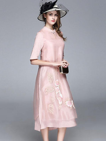 Ethnic Stand Collar Half Sleeve Shift Dress