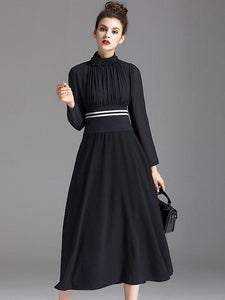 Elegant Stand Collar Long Sleeve Elastic Waist Skater Dress