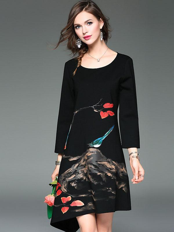 Casual O-Neck Long Sleeve Floral Print Asymmertrial A-Line Dress