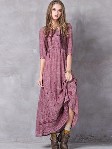 Ethnic O-Neck Half Sleeve Embroidery Maxi Dress
